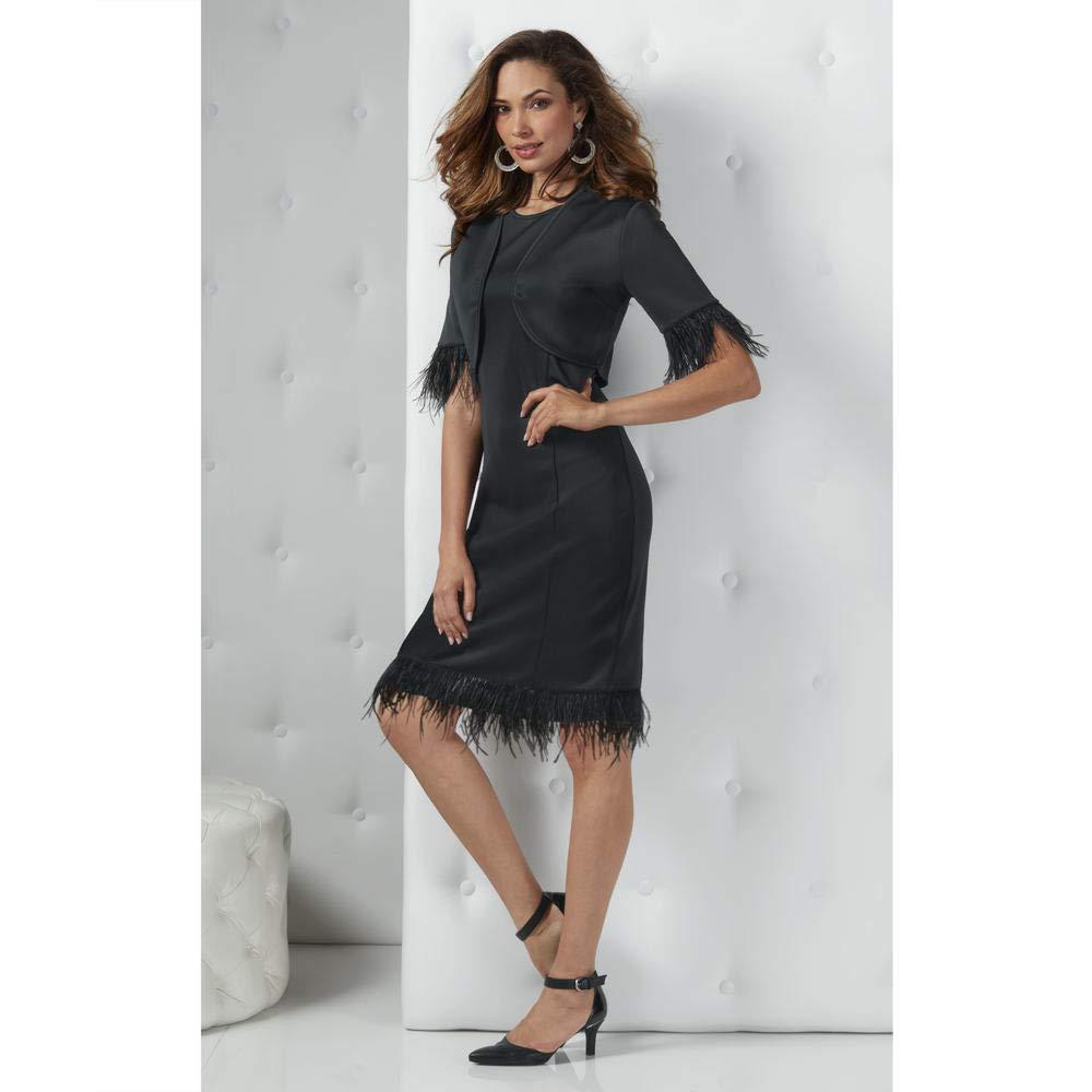 Faux Feather-Trim Dress Set