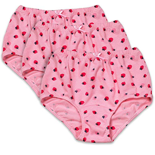 Candyland Brief Panty for Girl's -3 Pack - Full Cut Soft Cotton (14, Strawberry -