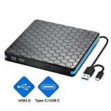 External DVD CD Drive with USB 3.0 and Type-C Interface, Portable CD-RW/DVD-RW Burner and Reader, Compatible with Win10/XP/Win 7/Win 8, Laptop, Mac, Macbook Air/Pro, iMac, PC (black)