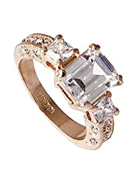 Acefeel Luxurious Women's Square White Crystal Zircon Gold Plated Ring Mother's Day Gift R267