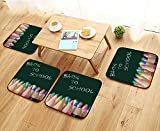 Elastic Cushions Chairs Back to School Colour Pencils in Vibrant Tones in Front of a Blackboard in a Classroom for Living Rooms W29.5 x L29.5/4PCS Set