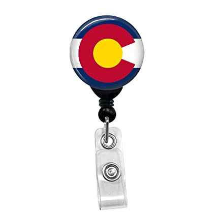 6f450df9050f Image Unavailable. Image not available for. Color  Colorado Flag  Retractable Badge Reel - ID ...