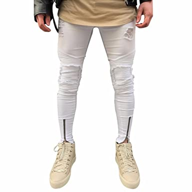878c56e13e AMSKY❤ Men Denim Jeans, Mens Fashion Ripped Slim Fit Motorcycle ...