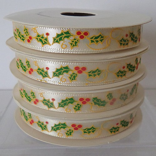 Christmas Ribbon IVORY WITH HOLLY & BERRIES~ 5 yards (4.5 metres) Roll of 10mm Wide Ribbon Ideal For Presents~Gifts~Cards~Scrap Booking~Decoration