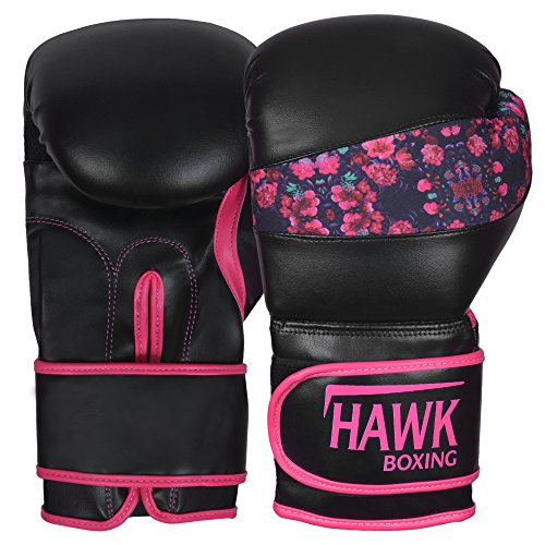 Hawk Pink Boxing Gloves Ladies Women's Flowers Girls Leather Training Gloves Bag Gloves Mitts Muay thai Kick Boxing Gloves (Black, 12oz)