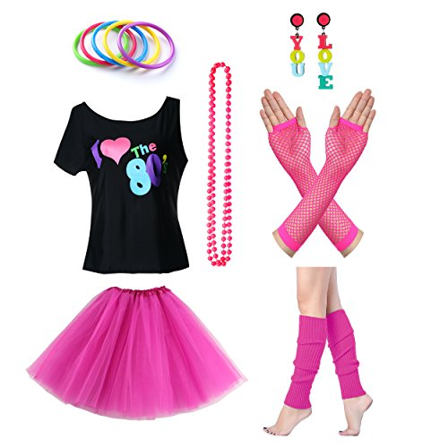 TDmall Clothing Series Women's I Love The 80's T-Shirt 80s Outfit accessories (S/M, Hot (E Themed Costumes)