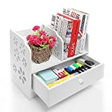 Home-Neat DIY 2-Tier Cut-Out Shelf Desktop Storage Organizer Shelf Rack with a Drawer for Home Kitchen Office Bedroom Bathroom