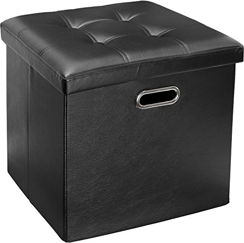 Greenco Faux Leather, Tufted, Ottoman Stool Seat and Foot Rest, Collapsible, Versatile Storage Box-Black by Greenco