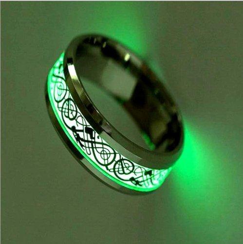 nongkhai Shop Nuevos anillos de dragón Celta brilla en la oscuridad luminoso Titanio Acero Anillos Tamaño de 6–12