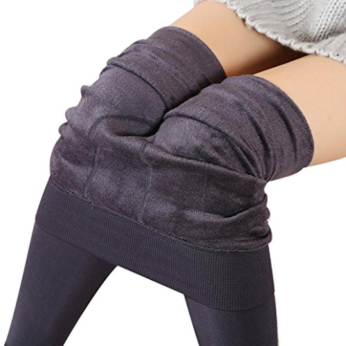 Perman Women Winter Thick Warm Fleece Lined Thermal Stretchy Leggings Pants (Length 3ft, Gray)