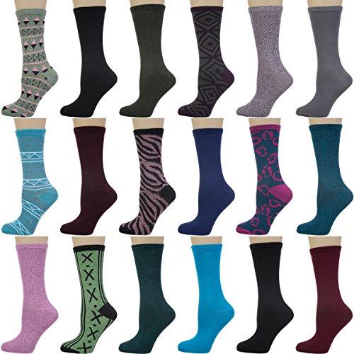 18 Pairs Nicole Miller Women Pattern Print Solid Crew Dress Bulk Casual Socks Pack Shoe Size 4-10