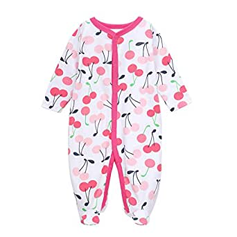 LUCKYXIN Baby Footed Pajama Sleepwear Long Sleeve Rompers 100% Cotton for Baby Boys Girls (Size 0-12 Month)