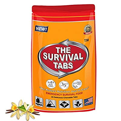 Survival Tabs 2-day 24 Tabs Emergency Food Ration Survival MREs Meals for Travel Boating Biking Hunting Earthquake Flood Tsunami Gluten Free and Non-GMO 25 Years Shelf Life - Vanilla Malt Flavor