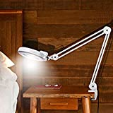 8X Professional Magnifier Desk Lamp, 110V Clamp Mount Light Magnifier Glass Len with Adjustable Rolling Swing Arm