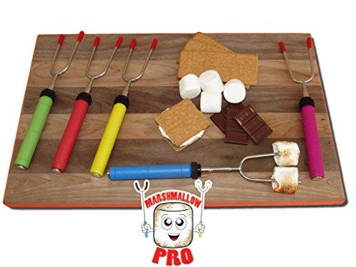 Marshmallow Pro - Marshmallow Roasting Sticks - Set of 5 Telescopic Extendable Roasting Sticks/Skewers With Zippered Travel Bag