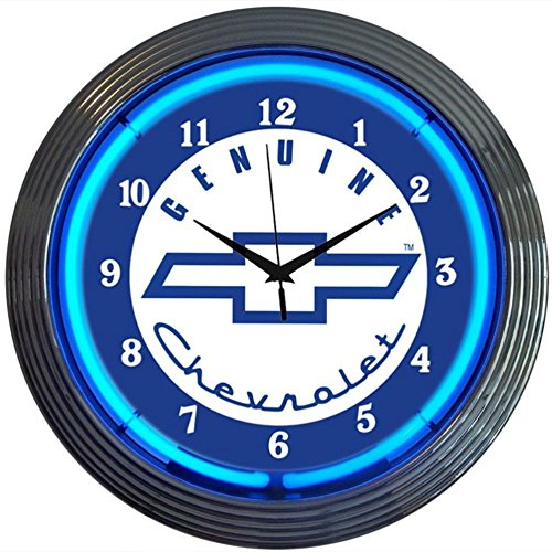 (Neonetics Cars and Motorcycles Genuine Chevrolet Neon Wall Clock, 15-Inch, Blue Chevy)