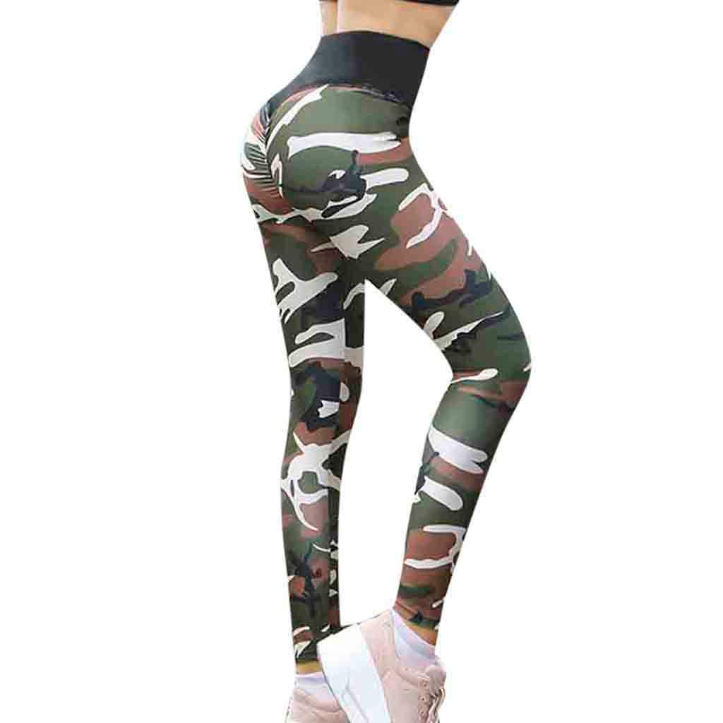 NUWFOR Women Yoga Gym Camouflage Print Sport Soft High Waist Slim Leggings Pants(Green,XXL US Waist :30.7-34.6'')
