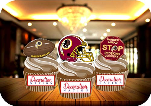 Redskins Birthday Cake (12 x Washington Redskins Birthday Edible Cake Toppers Decorations)