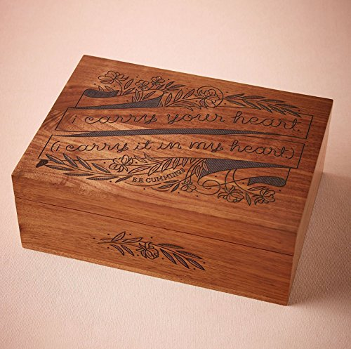 I Carry Your Heart Laser Cut Wood Keepsake Box (Wedding Gift / 5th Anniversary / Baby Shower Gift / Heirloom / - Order Shipped Your