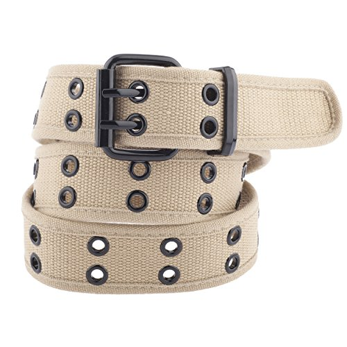 (Unisex Two-Hole Canvas Belt - Available in 13 Colors (WB-211)(Large, Beige))