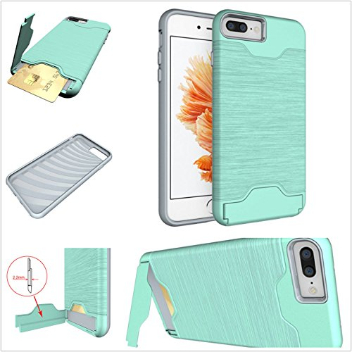 Yxim(TM) Built-in [Credit&ID Card Slot] Dual-Layer Touch Hybrid Light Protective Ultra Armor Slim Shockproof Durable Cover Kickstand Case for iPhone 7 Plus / 8 Plus (Green)