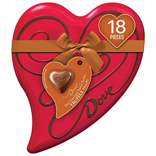 DOVE Valentine's Peanut Butter Milk Chocolate Truffles Heart Gift Box 6.5-Ounce Tin