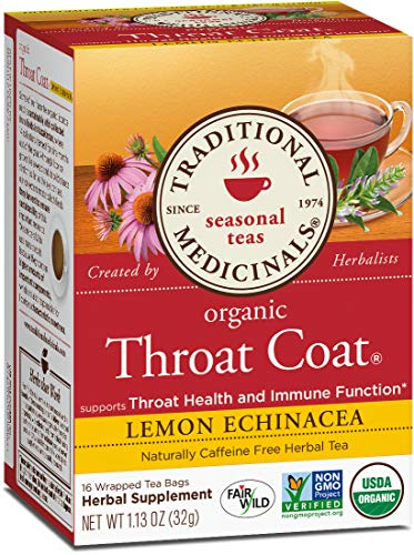 Traditional Medicinals Organic Throat Coat Lemon Echinacea Tea, 32 Count, Pack of 3