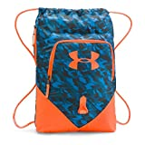 Under Armour UA Drawstring Gymsack Undeniable Backpack 600 Denier Sport Bookbag Gear Tote (Brilliant Blue/Team Orange)