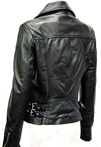 Smart Range 2588 Noir Veste En Cuir Pour Femmes, Mesdammes, Mdemoiselles, Style Moterd, Biker Style,