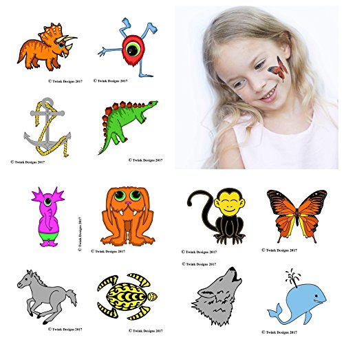 Temporary Tattoos For Kids (12 Individually Wrapped Sheets) - Best For Birthday Party Gift Bags, Party Favors And Kids Party Games - For Boys And Girls