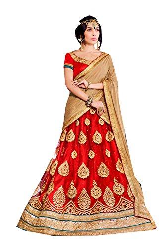 IWS Womens Red Striking Lehenga Choli With Lace Embroidery Work 80383 80383