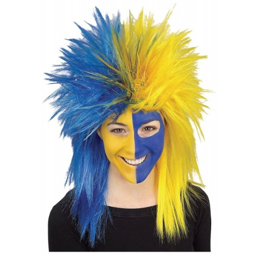 Rubie's Blue and Yellow Sports Fan Wig, Blue/Yellow, One Size ()