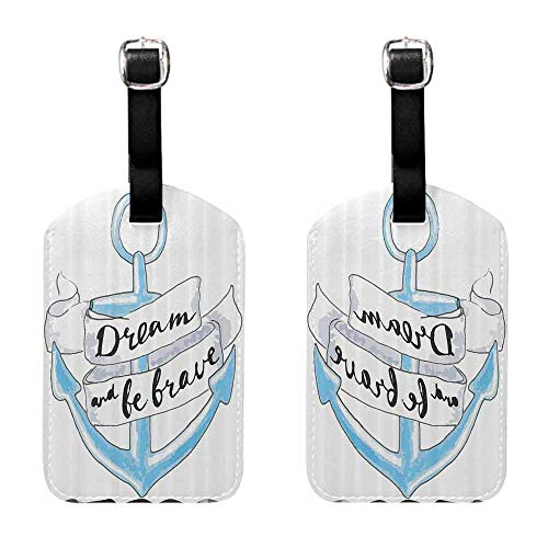 Luggage Tag with Full Privacy Anchor Decor Collection,Anchor with Ribbon and Lettering Quotes Dream and Be Brave Hipster Doodle Dated Image,White Blue Labels for Instrument