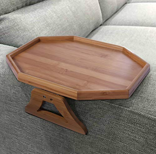 Natural Bamboo Sofa Armrest Clip-On Table, Ideal for - Tray Arm