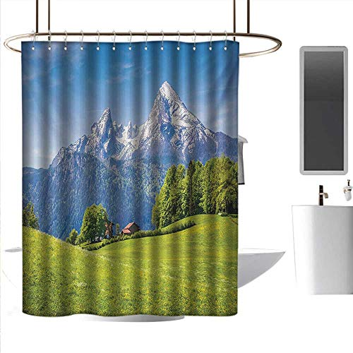 coolteey Shower Curtains Marble Europe,Blooming Flowers Snowcapped Mountain Tops in Background National Park Bavaria,Green Sky Blue,W36 x L72,Shower Curtain for Men -