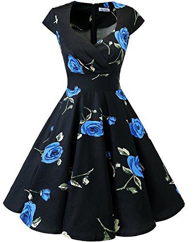 Bbonlinedress Vestido Corto Mujer Retro Años 50 Vintage Escote En Pico Black Blue Brose