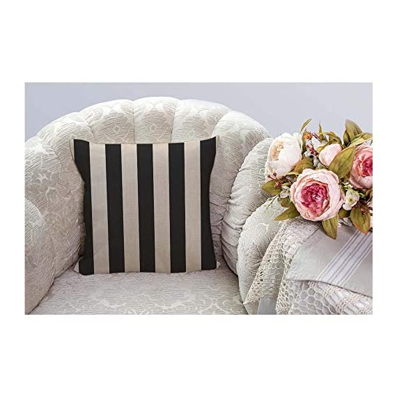 """HGOD DESIGNS Stripes Throw Pillow Cover,Wide Lines Texture Modern Abstract Geometric Striped Monochrome Black White Bands Decorative Pillow Cases Linen Cushion Covers for Home Sofa Couch 18x18 inch - Stripes pillow cover dimensions: 18"""" x 18"""" inch (1-2cm deviation).Please ensure your pillow is suitable for this size.it is easy to install. Stripes pillowcase made of durable high quality cotton linen Burlap material,no peculiar smell,comfortable,breathable,durable and stylish. Stripes decorative pillows pattern is print on the both side.it will decorate your house well,Brings Luxury Look To Your Home Decorative, Living Rooms, Sofa, Couch, Chair, Bedrooms, Offices,Car - patio, outdoor-throw-pillows, outdoor-decor - 51gecLgQlRL. SS570  -"""