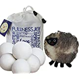 Wool Dryer Balls 6 pack XL with *FREE Handmade Sheep Coin Purse and E-Book* - Premium Quality New Zealand Wool, Reusable, 100% Organic, Baby Safe, Unscented, Anti Static, Anti Wrinkle, All Natural Laundry Softener