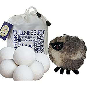 Wool Dryer Balls 6 pack XL with FREE BONUS ~ 100% Certified Organic New Zealand Wool, Anti-Static, Reduces Drying Time, Reusable Natural Fabric Softener ~ Bonus Handmade Sheep Coin Purse and E-Book