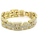 Mens Gold Tone H Thin Link Iced Out Clear Cz Stones Hip Hop Bracelet 8'' Inch