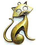 5Pcs. Tibetan Antique Bronze Sitting Prissy CAT Charms Pendants Ear Drops C05B Crafting Key Chain Bracelet Necklace Jewelry Accessories Pendants