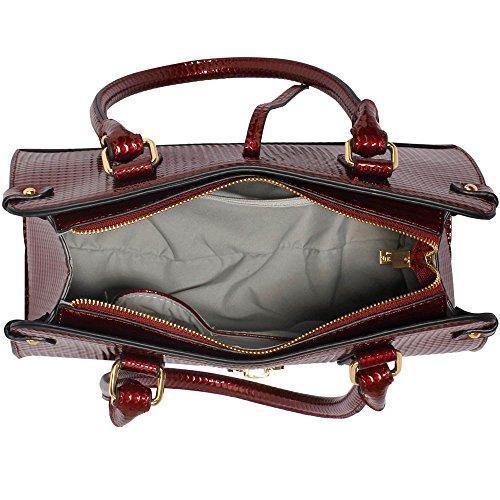 ANNA GRACE - Bolso de asas de Charol para mujer Design 1 - Burgundy