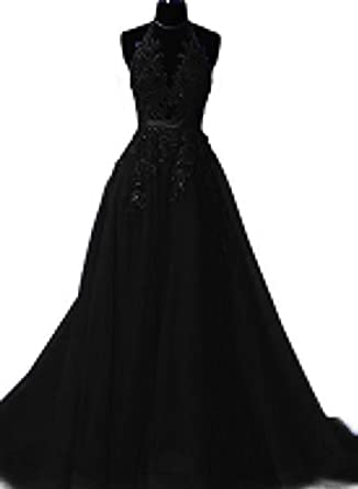 Sexy Prom Dresses Long 2018 A Line Halter Top Lace Formal Dresses