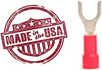 #6 Red Vinyl Insulated Fork//Spade Terminal Connectors 22-18 GAUGE