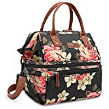 Lokass Lunch Bags for Women Wide Open Insulated Lunch Box With Double Deck Large Capacity Cooler Tote Bag With Removable Shoulder Strap Leak-Proof Lunch Organizer For Outdoor/Work(Black Peony)
