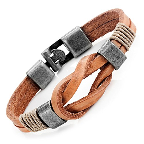 Urban Jewelry Tan Leather Nautical Knot Bracelet for Him and Her, Unisex, Leather, 8