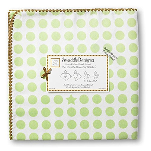 (SwaddleDesigns Organic Ultimate Swaddle, X-Large Receiving Blanket, Made in USA Premium Cotton Flannel, Dots and Stars with Mocha Trim, Kiwi (Mom's Choice Award Winner))