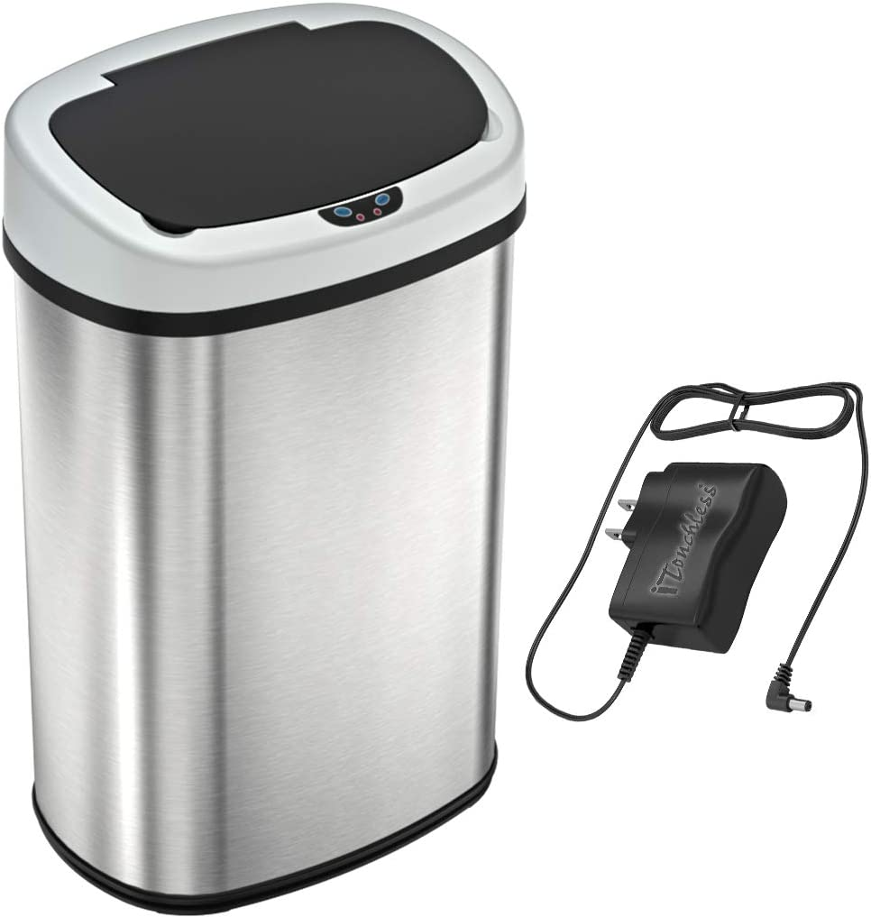Amazon Com Sensorcan 13 Gallon Battery Free Automatic Sensor Kitchen Trash Can With Power Adapter Oval Shape Stainless Steel Garbage Bin Ac Plug Home