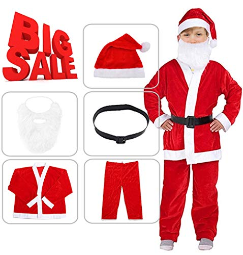 Kids Boys Christmas Santa Costume Set Red Velvet with Santa Hat and Belt Y020B