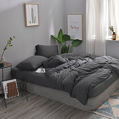 DOUH 3 Piece Duvet Cover Queen,Solid Cotton Jersey Knit 1 Comforter Cover and 2 Pillow Shams Ultra Soft Hypoallergenic Bedding Set Dark Gray Queen Size (Dark Set Comforter)